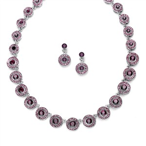 Mariell Amethyst Austrian Crystal Circles Necklace & Earrings Set 536s-da