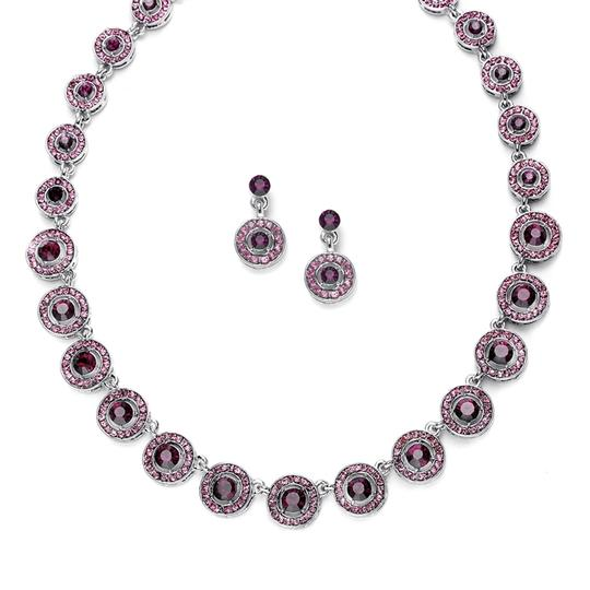 Mariell Amethyst Austrian Crystal Circles Earrings Set 536s-da Necklace