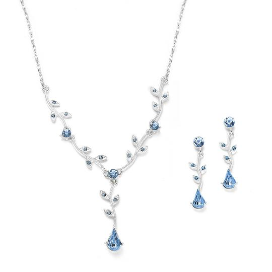 Mariell Sapphire Bridesmaid Or Prom Vine Earrings Set In Lt. 580s-ls Necklace