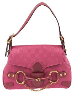Gucci Fuchsia Gg Canvas Chain Shoulder Bag