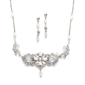 Mariell Silver Top-selling Freshwater Pearl Crystal Earrings Set 4060s Necklace