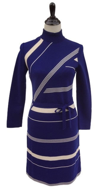 Marco Polo short dress Blue Striped Knit Pan Am Vintage on Tradesy