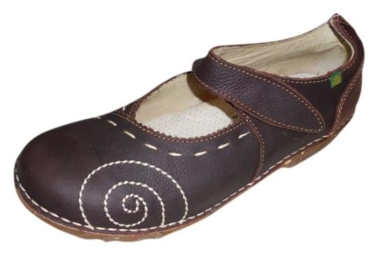 El Natura Lista Never_worn Rich Leather Brown Flats