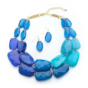 Mariell Blue Tones Chunky Statement Necklace & Earrings For Prom Or Bridesmaids 4111s-blu