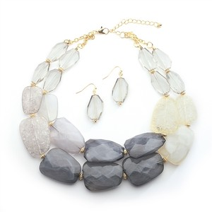 Mariell Pewter Tones Chunky Statement Necklace & Earrings For Prom Or Bridesmaids 4111s-pwt