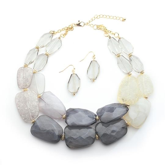 Mariell Pewter Tones Chunky Statement Earrings For Prom Or Bridesmaids 4111s-pwt Necklace