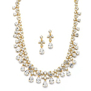 Mariell Spectacular Cubic Zirconia Gold Statement Necklace Set 4171s-g