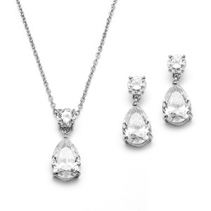 Mariell Cubic Zirconia Teardrop Bridal Or Bridesmaids Necklace Set 4172s