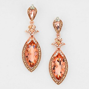 Rose Gold Elegant Regal Droplet Party Evening Earrings