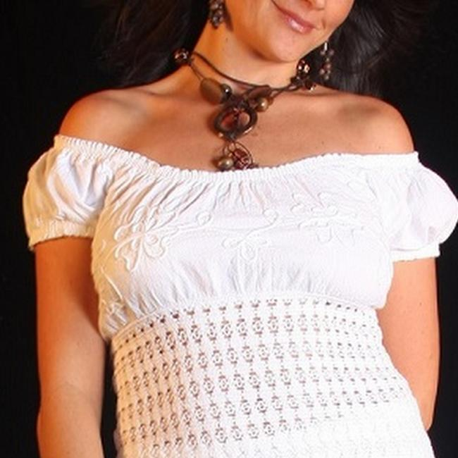Lirome Embroidered Summer Summersexy Tube Resort Top White