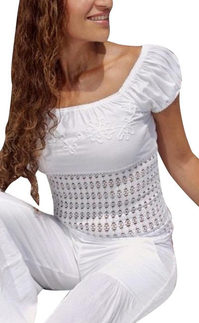 Lirome Embroidered Summer Tube Resort Sexy Top White Image 0