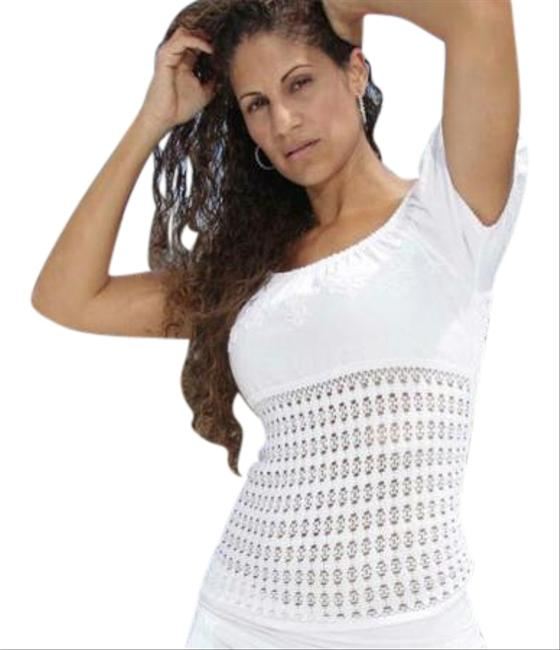 Lirome Embroidered Summer Tube Resort Sexy Top White Image 1