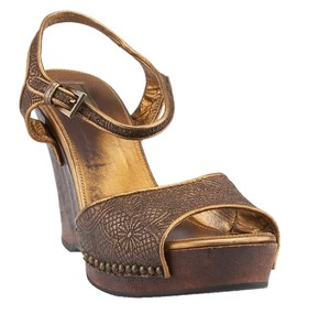 Prada Leather Gold Wedges