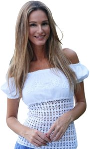 Lirome Embroidered Summer Tube Chic Sexy Top White