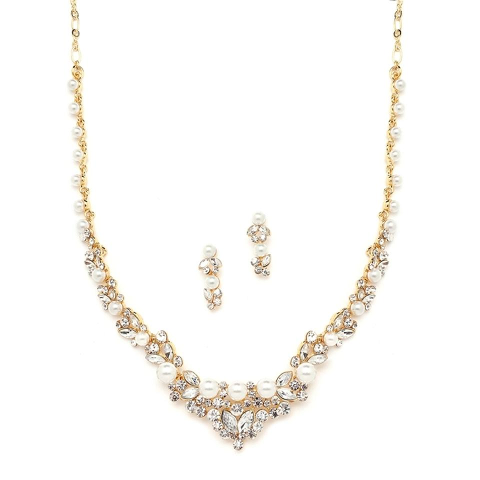 Mariell elegant gold wedding necklace set with crystals for Bridesmaid jewelry sets under 20