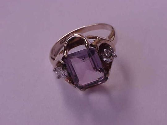 Other 10k yellow gold amethyst diamond ring
