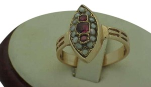 Victorian 14K Rose Gold Ring: Genuine RUBY's & Seeds Pearl,1800's