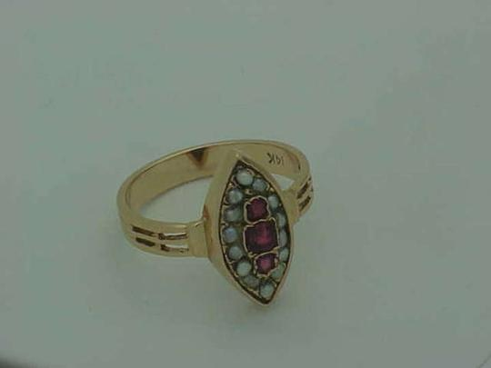 Other Victorian 14K Rose Gold Ring: Genuine RUBY's & Seeds Pearl,1800's