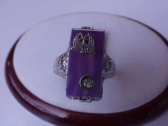 Other Estate Vintage 14k White Gold Agate Diamond Filigree Ring