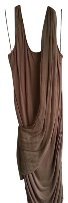 Item - Beige Jersey Bodycon Short Night Out Dress Size 12 (L)