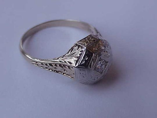 Other Estate Art Deco 2 Tone Gold Filigree .12ct Diamond Ring,1930s