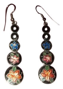 Vintage Cloisonne Dangle Drop Earrings