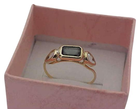 Other Estate Vintage 14k Yellow gold Aquamarines and Green Tourmaline Ring