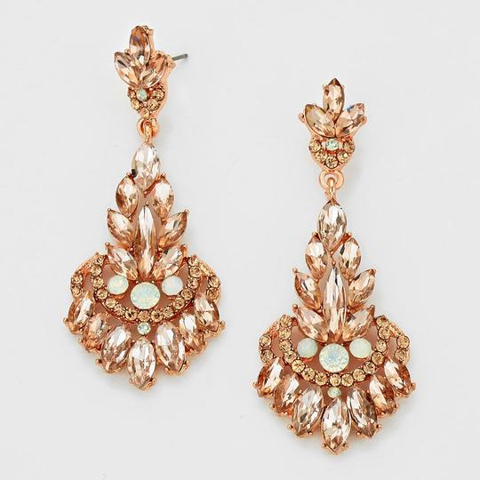 Rose Gold Peach Elegant Rhinestone Crystal Petal Floral Drop Evening Earrings