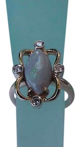 Estate Vintage 14k Yellow Gold Ring with Diamonds and Natural Opal, 1950s