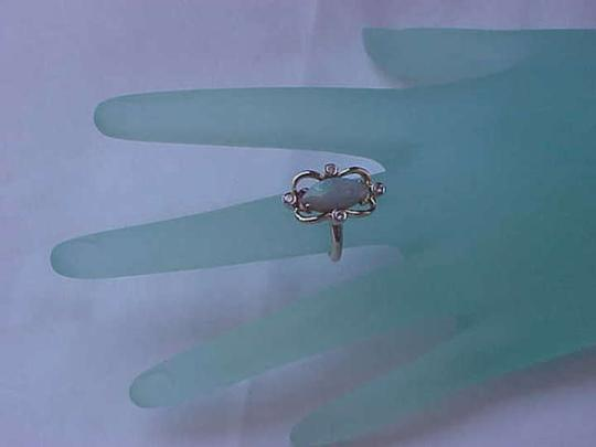 Other Estate Vintage 14k Yellow Gold Ring with Diamonds and Natural Opal, 1950s