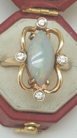 Other Estate Vintage 14k Yellow Gold Ring 3.20ctw Diamonds Natural Opal