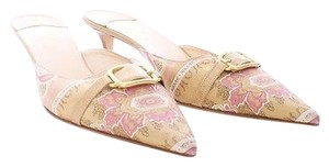 Cole Haan Collection Tapestry Satin Leather Pointed Toe Pink & Gold Mules