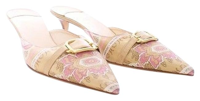Item - Pink & Gold Collection Tapestry Satin Leather Pointed Toe Mules/Slides Size US 10.5 Regular (M, B)