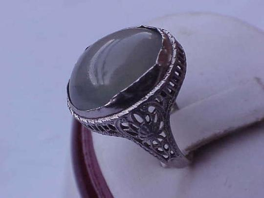 Other Art Deco 10.00cts Genuine Green Moonstone 14k White Gold Ring
