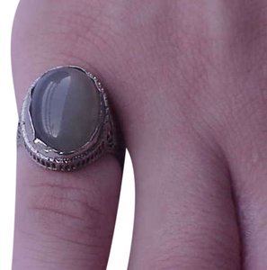 Vintage Art Deco 14k White Gold Filigree Ring with Huge 10.00carats Genuine Green Moonstone!