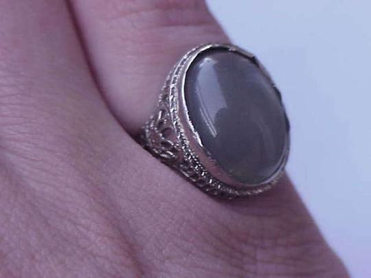 Other Vintage Art Deco 14k White Gold Filigree Ring with Huge 10.00carats Genuine Green Moonstone!