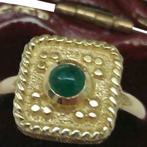 Other Antique 14k Yellow Gold Genuine Cabochon Emerald Ring, 1900s