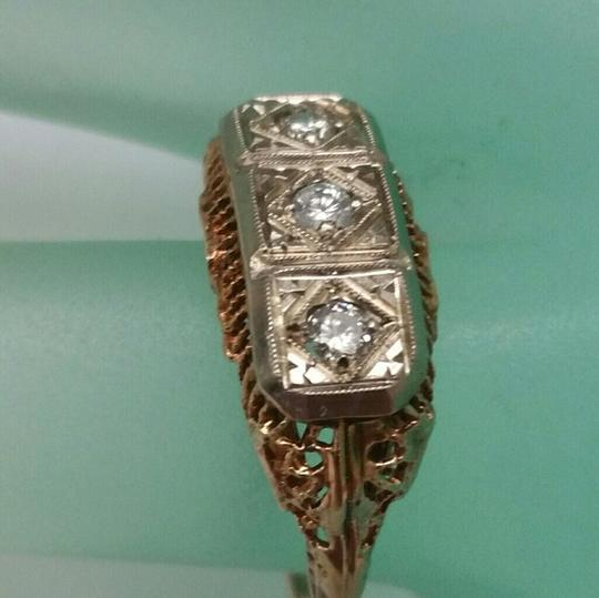 Other Art Deco 14k 2 Tone Gold Filigree Ornate 3-Stone Diamond Ring