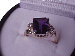 Victorian 10k Yellow Gold Natural Amethyst Diamond Ring