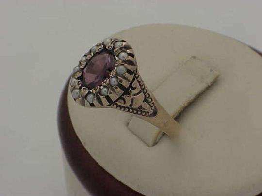 Other Victorian 12K Gold Genuine Amethyst & Genuine Seed Pearls Ring,1800s