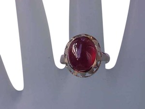 Vintage Art Deco 14k Yellow Gold filigree Ring with Cabochon Garnet Rrubullite, 1940s