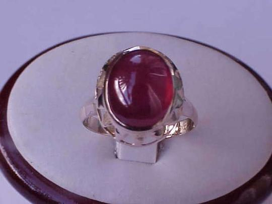 Other Vintage Art Deco 14k Yellow Gold filigree Ring with Cabochon Garnet Rrubullite, 1940s