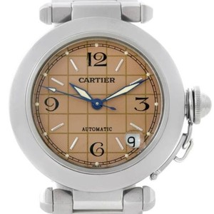 Cartier Cartier Pasha C Mens Steel Salmon Grid Dial Watch W31023m7