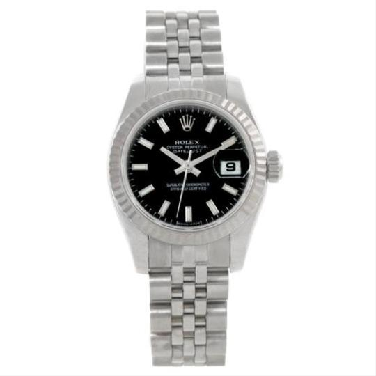 Rolex Rolex Datejust Black Dial Steel 18k White Gold Ladies Watch 179174