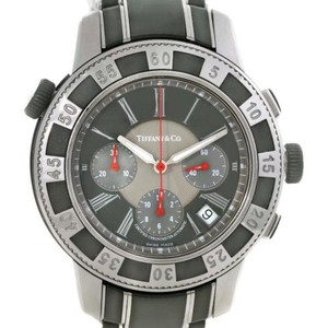 Tiffany & Co. Tiffany Stainless Steel Vulcanized Rubber Chronograph Mens Watch T-57