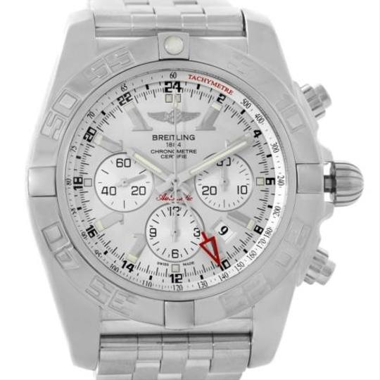 Breitling Breitling Chronomat Gmt Silver Dial Steel Mens Watch AB0410
