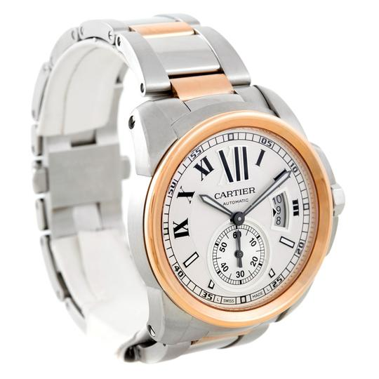 Cartier Calibre De Cartier Steel Rose Gold Mens Watch W7100036