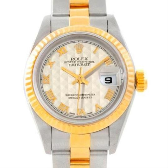 Rolex Rolex Datejust Ladies Steel 18k Yellow Gold Ivory Pyramid Dial 69173