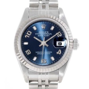 Rolex Rolex Datejust Ladies Stainless Steel White Gold Blue Dial Watch 69174