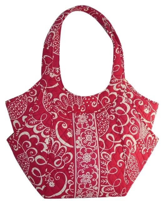 Item - Tote Large Roomy Hot Twirly Birds Purse Pink White Cotton Messenger Bag